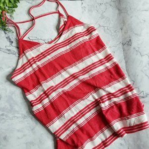 Universal Thread Red & White Striped Linen Tank